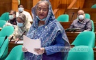 Prime Minister Sheikh Hasina speaks at the final discussion session on the proposed budget for FY 2020-21 in parliament on Monday. Photo: A B M Aktaruzzaman/ PID