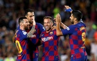 La Liga Santander - FC Barcelona v Villarreal - Camp Nou, Barcelona, Spain - September 24, 2019 Barcelona's Arthur celebrates scoring their second goal with Lionel Messi and Luis Suarez REUTERS