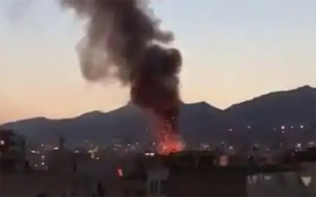 Online videos appeared to show explosions at the site as thick black smoke rose from the flames. (Screen grab/Twitter/instanewsalerts)