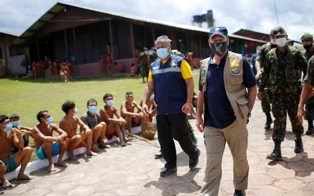 Brazil's Defence Minister Fernando Azevedo e Silva is seen during a visit, amid the spread of the coronavirus disease (COVID-19), at the 4th Surucucu Special Frontier Platoon of the Brazilian army in the municipality of Alto Alegre, state of Roraima, Brazil July 1, 2020. REUTERS