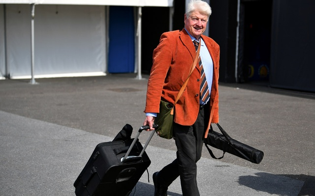 Stanley Johnson, father of Boris Johnson, arrives at a hustings event with Britain's Conservative Party leadership candidates Boris Johnson and Jeremy Hunt, in Exeter, Britain, Jun 28, 2019. REUTERS
