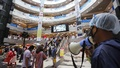 The authorities have restricted the numbers of people using elevators and escalators to ensure physical distancing to reduce the risk of coronavirus infection at Bashundhara City shopping mall in Dhaka. Photo: Mahmud Zaman Ovi