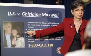 Audrey Strauss, the acting US attorney for the Southern District of New York, leads a news conference in New York on Thursday, July 2, 2020, where she announced the arrest of Ghislaine Maxwell. Maxwell, the former girlfriend and longtime associate of the disgraced financier Jeffrey Epstein, was arrested Thursday on criminal charges linked to his alleged sex-trafficking operation. (Jose A. Alvarado Jr./The New York Times)