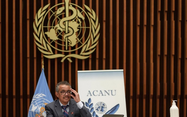 World Health Organization (WHO) Director-General Tedros Adhanom Ghebreyesus attends a news conference organised by Geneva Association of United Nations Correspondents (ACANU) amid the COVID-19 outbreak, caused by the novel coronavirus, at the WHO headquarters in Geneva Switzerland July 3, 2020. Fabrice Coffrini/Pool via REUTERS