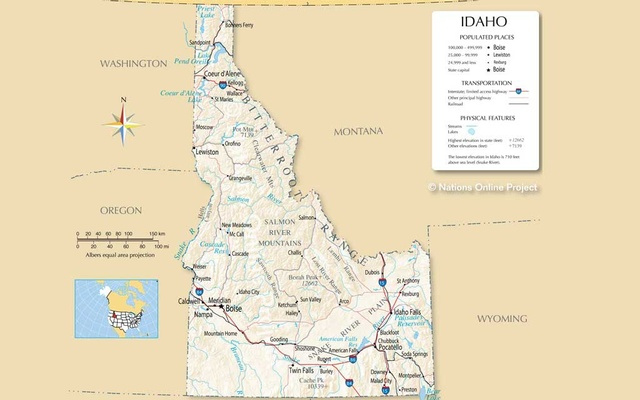 Map of Idaho State, USA. www.nationsonline.org