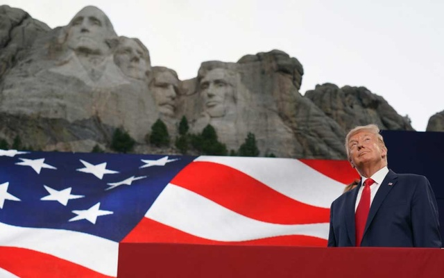 President Donald Trump speaks at Mount Rushmore National Memorial, near Keystone, SD, on July 3. THE NEW YORK TIMES