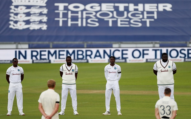 Cricket - First Test - England v West Indies - Rose Bowl Cricket Stadium, Southampton, Britain - July 8, 2020 Players during a minutes silence in memory of the victims of the coronavirus disease (COVID-19) before the start of play, as play resumes behind closed doors following the outbreak of the coronavirus disease (COVID-19) Adrian Dennis/Pool via REUTERS
