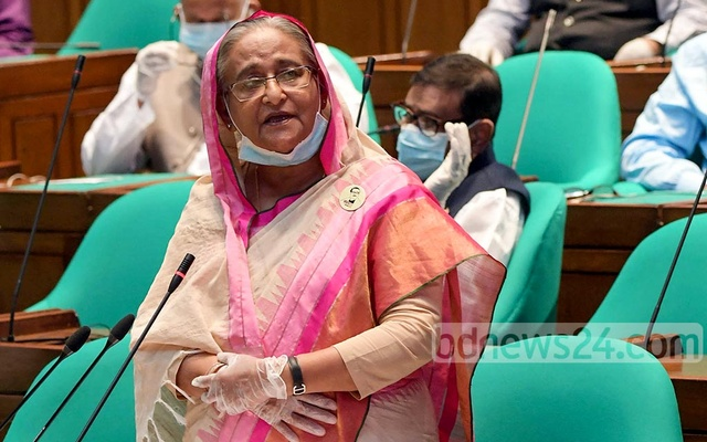 Prime Minister Sheikh Hasina speaks in parliament ahead of the passage of the national budget for fiscal year 2020-21 on Thursday. Photo: A B M Aktaruzzaman/ PID