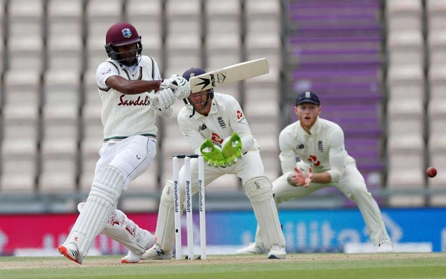 Cricket - First Test - England v West Indies - Rose Bowl Cricket Stadium, Southampton, Britain - July 10, 2020 West Indies' Kraigg Brathwaite in action, as play resumes behind closed doors following the outbreak of the coronavirus disease (COVID-19) Adrian Dennis/Pool via REUTERS