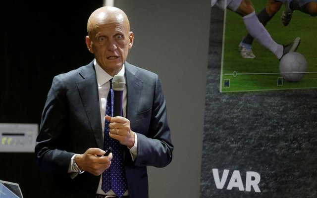 Former Italian referee Pierluigi Collina addresses the audience while participating in a meeting about the implementation of the VAR (Video Assistant Referee) on the Fifa World Cup of Russia 2018 at the Conmebol head quarters in Luque, Paraguay September 8, 2018. REUTERS/Jorge Adorno
