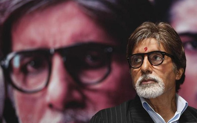 Bollywood actor Amitabh Bachchan attends a news conference to promote his movie