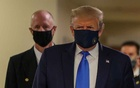 US President Donald Trump wears a mask while visiting Walter Reed National Military Medical Centre in Bethesda, Maryland, US, July 11, 2020. REUTERS