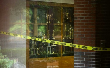 Caution tape blocks a hallway area inside Marietta High School in Marietta, Ga, July 7, 2020. Many of the nation's 3.5 million teachers found themselves feeling under siege this week as pressure from the White House, paediatricians and some parents to get back to physical classrooms intensified — even as the coronavirus rages across much of the country. (Audra Melton/The New York Times)