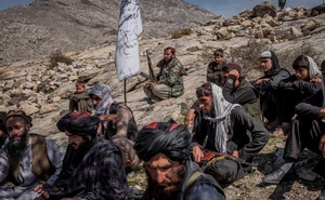 FILE — Taliban members in an area the group controls, Laghman Province, Afghanistan, March 13, 2020. (Jim Huylebroek/The New York Times)