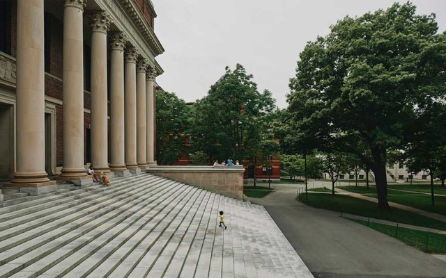 A nearly empty Harvard Yard at Harvard University in Cambridge, Mass, in Jul 8, 2020. Harvard and the Massachusetts Institute of Technology want a court to protect foreign students taking online classes. After a hearing, President Donald Trump said he was ordering a review of universities' tax-exempt status. Tony Luong/The New York Times