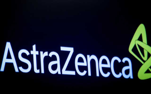 The company logo for pharmaceutical company AstraZeneca is displayed on a screen on the floor at the New York Stock Exchange (NYSE) in New York, US, April 8, 2019. REUTERS
