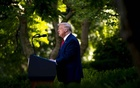 President Donald Trump speaks in the Rose Garden at the White House in Washington, Tuesday, Jul 14, 2020. Trump spoke in the Rose Garden for 63 minutes — he spent only six of those minutes answering questions from reporters. Doug Mills/The New York Times