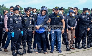 Mohammad Shahed, chairman of Regent Hospital, was airlifted to Dhaka's old airport after he was apprehended by RAB on the Satkhira frontier for his roles in a COVID-19 test scam that roiled Bangladesh's healthcare sector. Photo: Asif Mahmud Ove