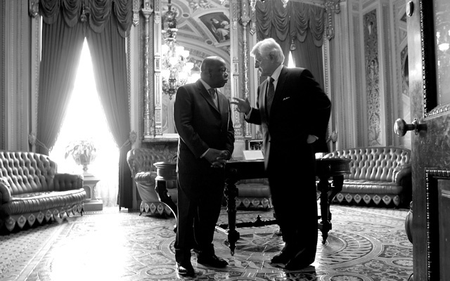 FILE -- Rep. John Lewis (D-Ga.) and Sen. Ted Kennedy (D-Mass.) confer in the room where President Lyndon Johnson signed the Voting Rights Act in 1965, on Capitol Hill in Washington, July 20, 2006. (Doug Mills/The New York Times)