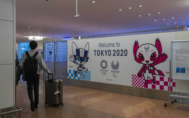 Advertising promoting the Tokyo Olympics 2020 at Haneda Airport in Tokyo, March 20, 2020. The New York Times