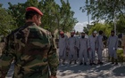 Taliban prisoners are lined up at the Bagram military base before being released in Afghanistan, May 26, 2020. The New York Times