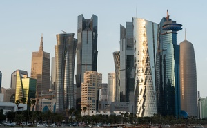The skyline of Doha, Qatar, March 27, 2019. Like other cities in the Persian Gulf, Doha has long relied on armies of low-paid migrant workers from Asia, Africa and elsewhere to do the heavy lifting in its economy, but the workers have been marred by the coronavirus pandemic. (Sebastian Modak/The New York Times)