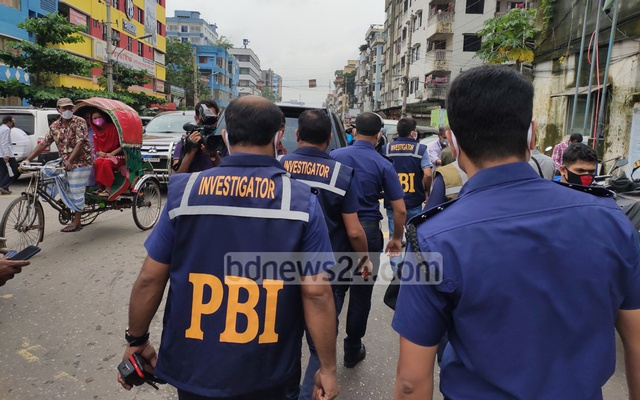 A PBI team visits the Pallabi Police Station following a bomb blast on Wednesday.