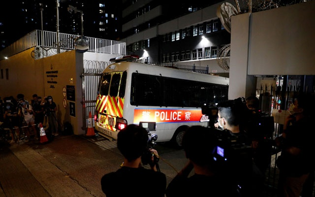 The activists, who ranged in age from 16 to 21, were arrested on Wednesday night and accused of promoting secession. Tyrone Siu/Reuters