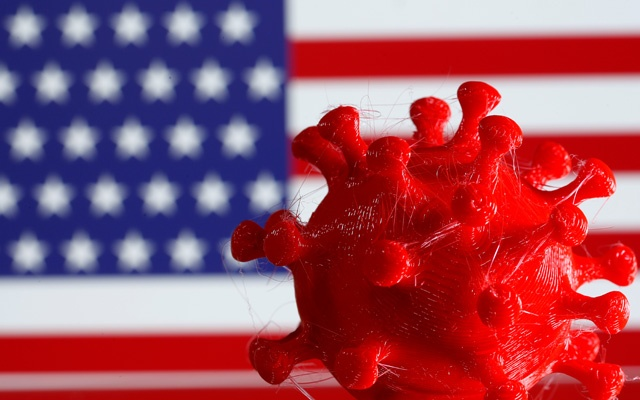 A 3D-printed coronavirus model is seen in front of a US flag on display in this illustration taken March 25, 2020. Reuters