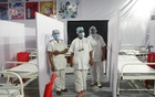 Nurses wearing protective masks stand inside a temporary facility created to facilitate cancer patients diagnosed with coronavirus disease (COVID-19) in Mumbai, India, Jul 30, 2020. REUTERS
