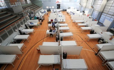 Beds are seen at a temporary field hospital set up in a sports complex by Medecins Sans Frontieres (MSF) during the coronavirus disease (COVID-19) outbreak in Khayelitsha township near Cape Town, South Africa, July 21, 2020. Picture taken July 21, 2020. REUTERS