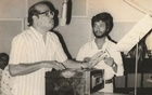 Suparnakanti Ghosh with Manna Dey. Photo taken from Ghosh's collection.