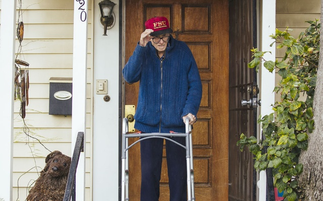 Bill Rodger, 91, at home in Los Angeles, Apr 8, 2020. Combating loneliness is vital work — services that offer 'grandkids on demand' are doing just that. The New York Times/FILE