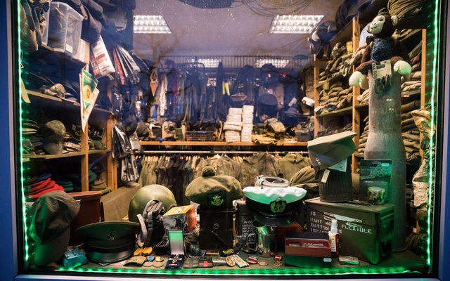 A military accessory shop in Schwerin, Germany, whose owner was part of the Nordkreuz, a neo-nazi group, Feb. 26, 2020. (Gordon Welters/The New York Times)