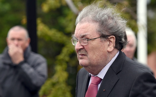 Former SDLP leader, John Hume, arrives for the funeral mass of former Bishop Edward Daly at St Eugene's Cathedral in Londonderry, Northern Ireland Aug 11, 2016. REUTERS