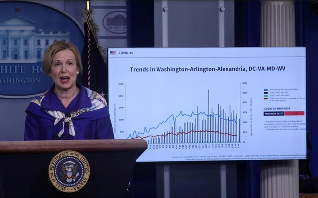 Dr Deborah Birx, the White House coronavirus response coordinator, addresses a news conference about the coronavirus disease (COVID-19) pandemic in the Brady Press Briefing Room at the White House in Washington, US, May 22, 2020. REUTERS