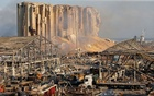 A general view shows the damage at the site of Tuesday's blast in Beirut's port area, Lebanon Aug 5, 2020. REUTERS