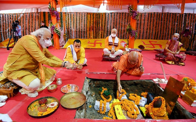 India's Prime Minister Narendra Modi attends the foundation-laying ceremony of a Hindu temple in Ayodhya, Aug 5, 2020. REUTERS