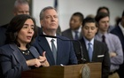 New York City's health commissioner, Dr. Oxiris Barbot, speaks at a news conference as Mayor Bill de Blasio listens in New York on March 2, 2020. Barbot resigned on Tuesday, Aug. 4, 2020, in protest over her