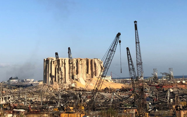 A view of the site of Tuesday's blast in Beirut's port area, Lebanon Aug 6, 2020. REUTERS