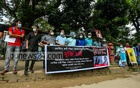 Students of Stamford University's Film and Media Studies Department form a human chain in front of the National Press Club in Dhaka demanding release of their peer Shipra Debnath and Shahadul Islam Sefat, two crew members of ex-army major Sinha Md Rashed Khan, who was shot dead in Cox's Bazar on Jul 31. Photo: Asif Mahmud Ove