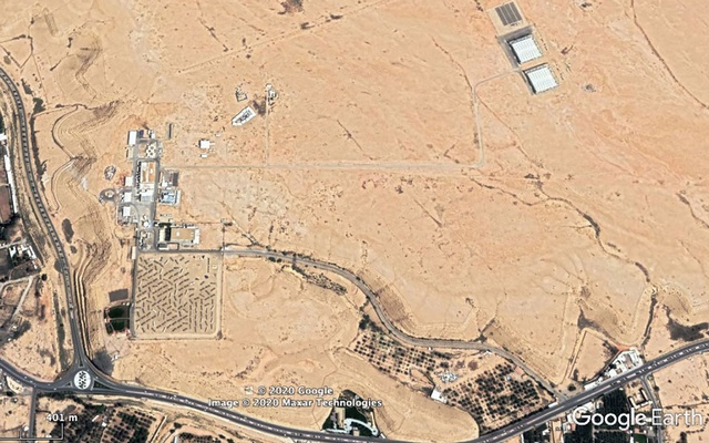 In an image provided by Maxar Technologies/Google Earth, an image taken May 27 showing, top right, two square buildings that some analysts think could be a Saudi nuclear facility, near the Solar Village, bottom left. American intelligence agencies are scrutinising efforts by Saudi Arabia to build up its ability to produce nuclear fuel that could put the kingdom on a path to developing nuclear weapons. (Maxar Technologies/Google Earth via The New York Times)