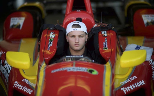 Sage Karam, an IndyCar rookie many consider the sport's future star, in his race car at the Pocono Raceway in Long Pond. The New York Times