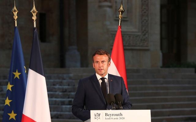 French President Emmanuel Macron delivers his speech during a news conference, following Tuesday's blast in Beirut's port area, in Beirut, Lebanon August 6, 2020. Reuters