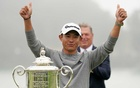 Collin Morikawa celebrates after winning the 2020 PGA Championship golf tournament at TPC Harding Park. Reuters