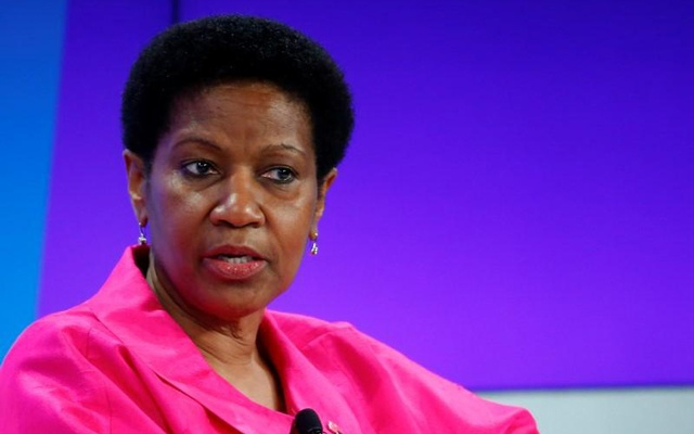 Phumzile Mlambo-Ngcuka, Undersecretary-General and Executive Director, United Nations Entity for Gender Equality and the Empowerment of Women (UN WOMEN), addresses the session 'Ending Poverty through Parity' in the Swiss mountain resort of Davos January 24, 2015. REUTERS