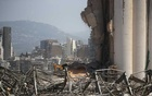 A man is seen at the site of Tuesday's blast in Beirut's port area, Lebanon Aug 8, 2020. REUTERS