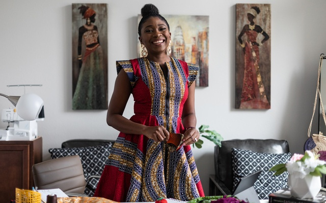 The designer Yetunde Olukoya at her home office in Fulshear, Texas on July 29, 2020. The New York Times