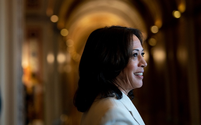 """Sen. Kamala Harris (D-Calif.) speaks to reporters during the Trump impeachment trial, on Capitol Hill in Washington, Jan. 16, 2020. In announcing Harris as his vice-presidential running mate, Joe Biden told supporters she was the person best equipped to """"take this fight"""" to Trump. (Erin Schaff/The New York Times)."""