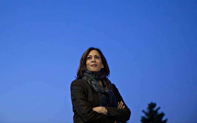 """Sen. Kamala Harris (D-Calif.) during a campaign even tin Ankeny, Iowa, Oct. 7, 2019. In announcing Harris as his vice-presidential running mate, Joe Biden told supporters she was the person best equipped to """"take this fight"""" to Trump. (Daniel Acker/The New York Times)"""